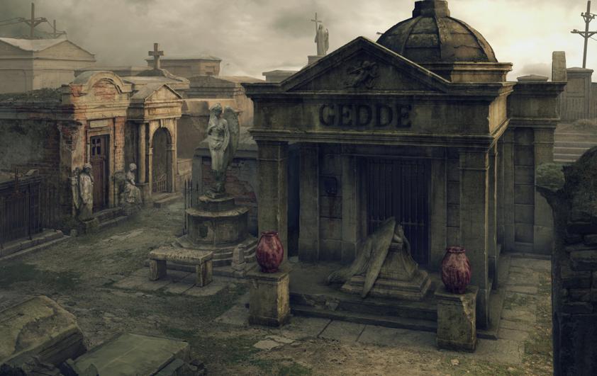 Cimitirul in varianta moderna, mai lugubru, in ton cu o atmosfera mai densa.